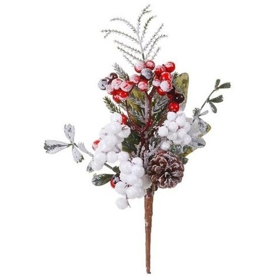 Kerststukje stekertje met bessen en sneeuw 20 cm