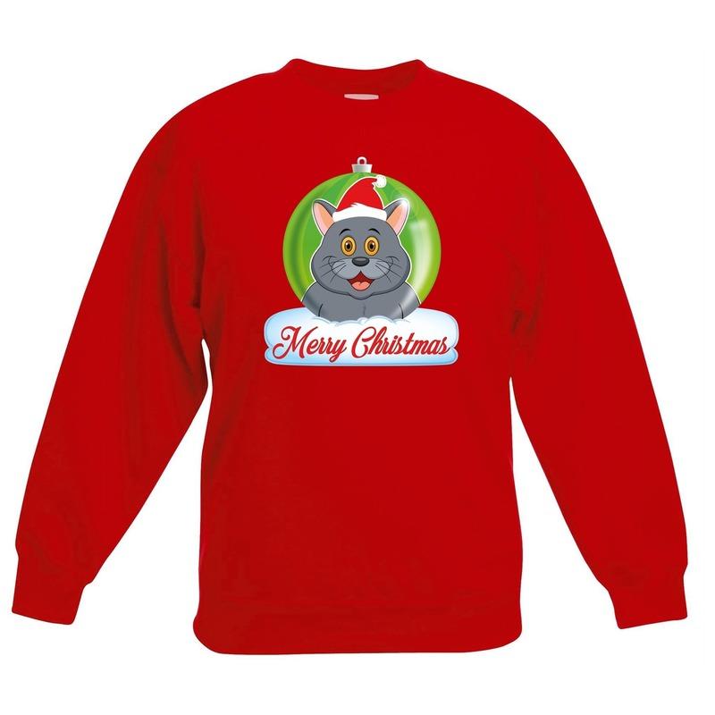 Kersttrui Merry Christmas grijze kat-poes kerstbal zwart kinde