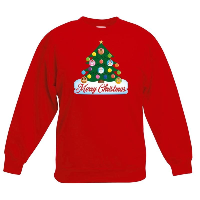 Kersttrui met dieren kerstboom rood kinderen