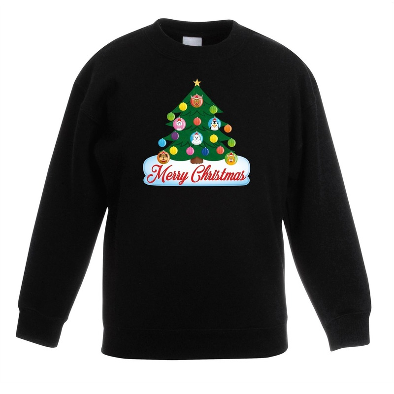 Kersttrui met dieren kerstboom zwart kinderen