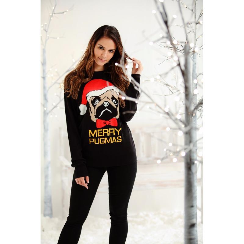 Kersttrui zwart met mopshond voor dames-heren