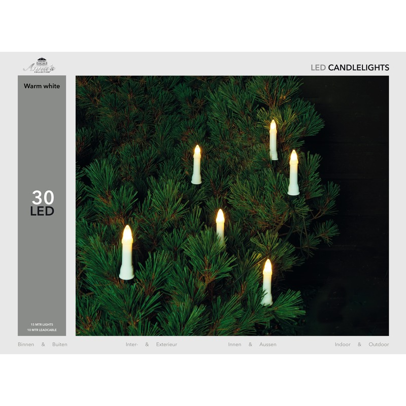 Kerstverlichting kaarsen lichtsnoer 30 lampjes warm wit 15 mtr
