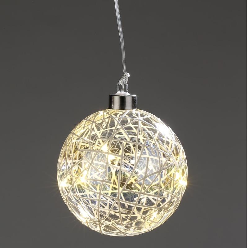 Kerstverlichting LED glitter decoratie bol 10 cm
