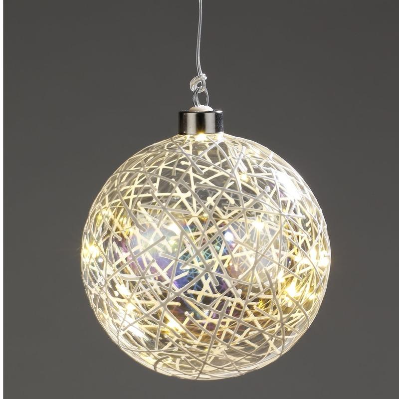 Kerstverlichting LED glitter decoratie bol 12 cm