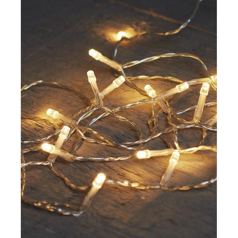 Kerstverlichting op batterijen warm wit 10 lampjes 100 cm