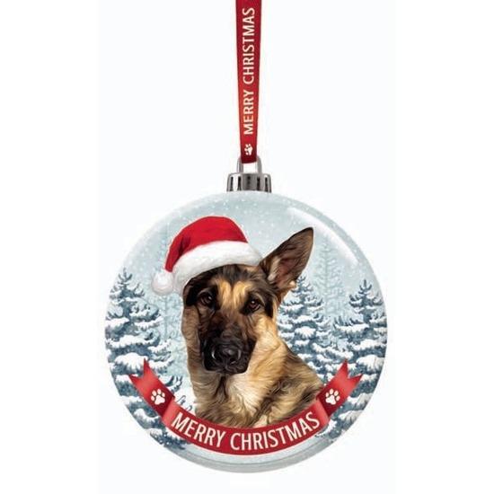 Kerstversiering glazen kerstbal Duitse Herder hond 7 cm