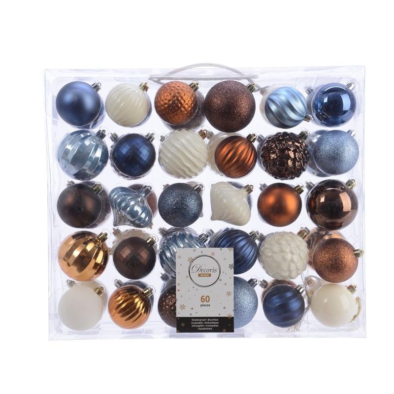 Kerstversiering kerstballen set blauw- bruin en wit 60 delig