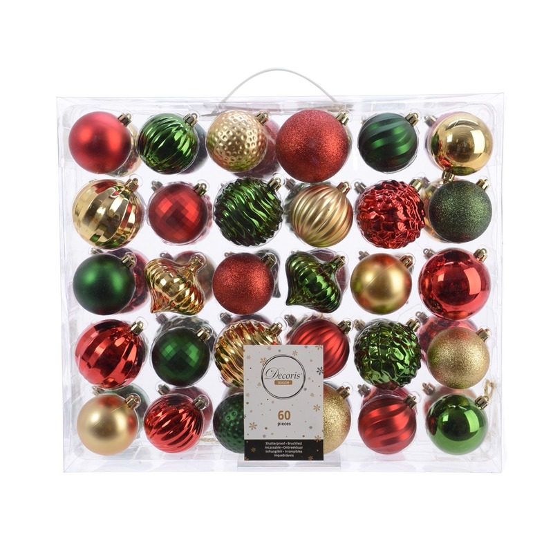 Kerstversiering kerstballen set dennen groen- goud-rood 60 delig