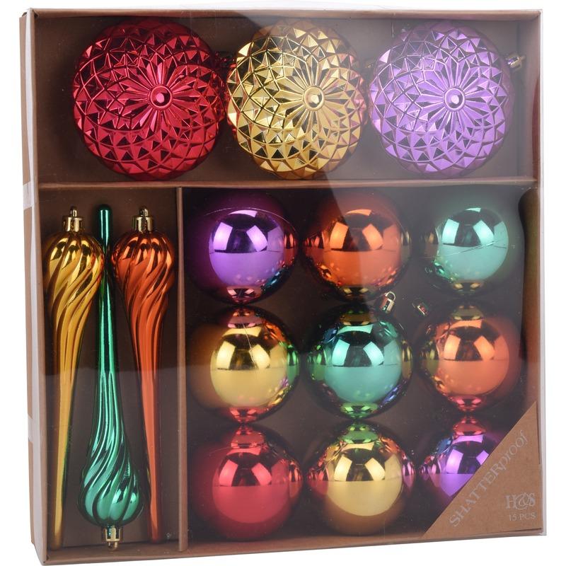 Kerstversiering kerstballen set goud-paars-rood en groen