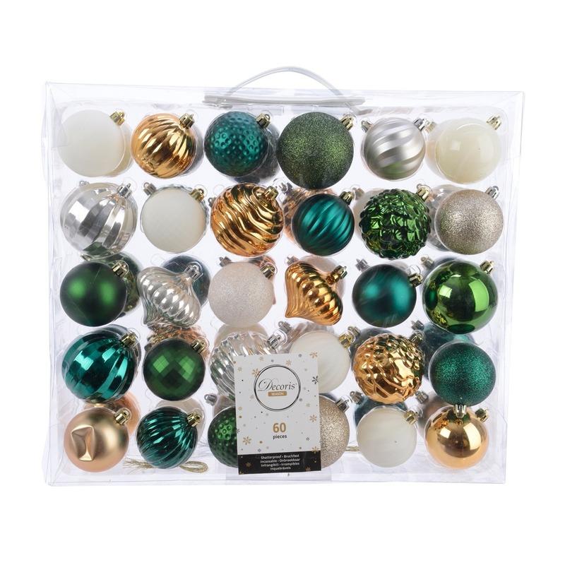 Kerstversiering kerstballen set groen-goud- zilver- wit 60 delig