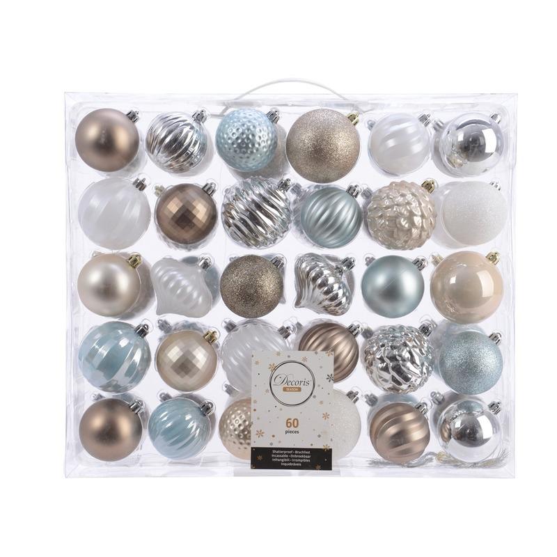 Kerstversiering kerstballen set zilver-champagne-blauw-bruin 60x