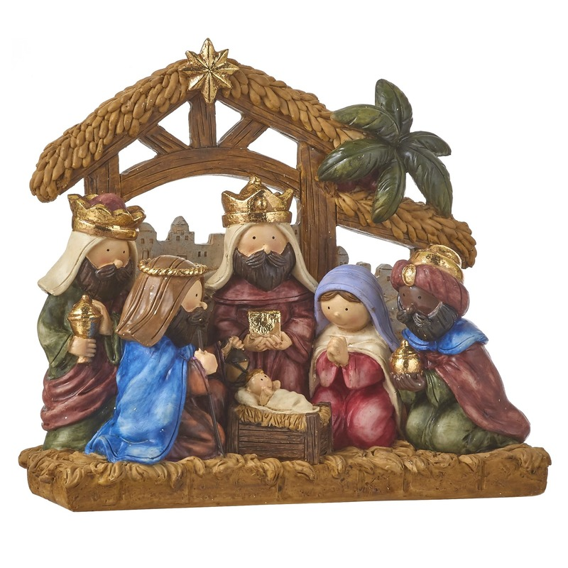Kinder kerststal met Kerststal figuren 20 cm
