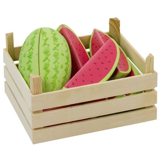 Kinderspeelgoed houten fruit meloen