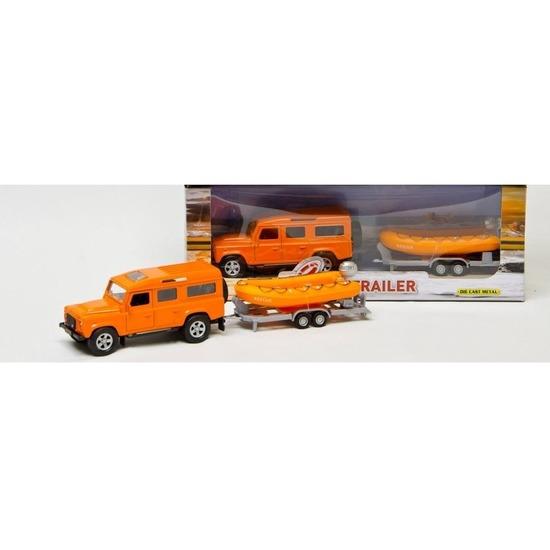 Kinderspeelgoed oranje auto Land Rover met reddingsboot
