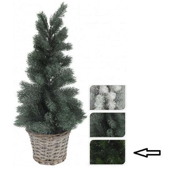 Kleine kerstboom donkergroen in mand 60 cm