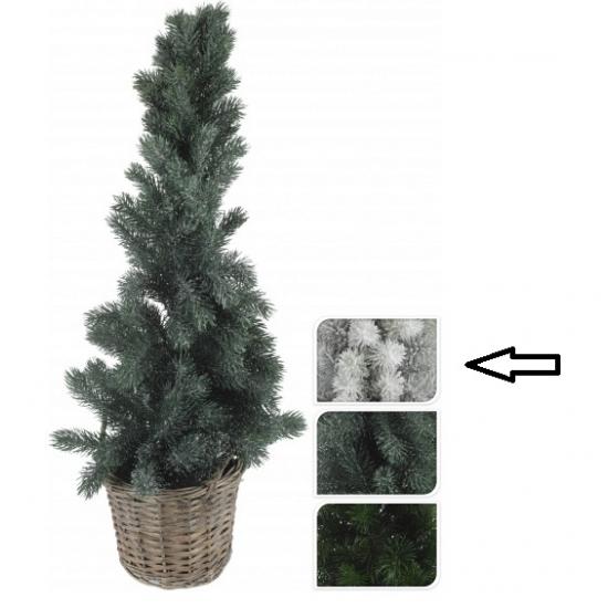 Kleine kerstboom wit in mand 80 cm