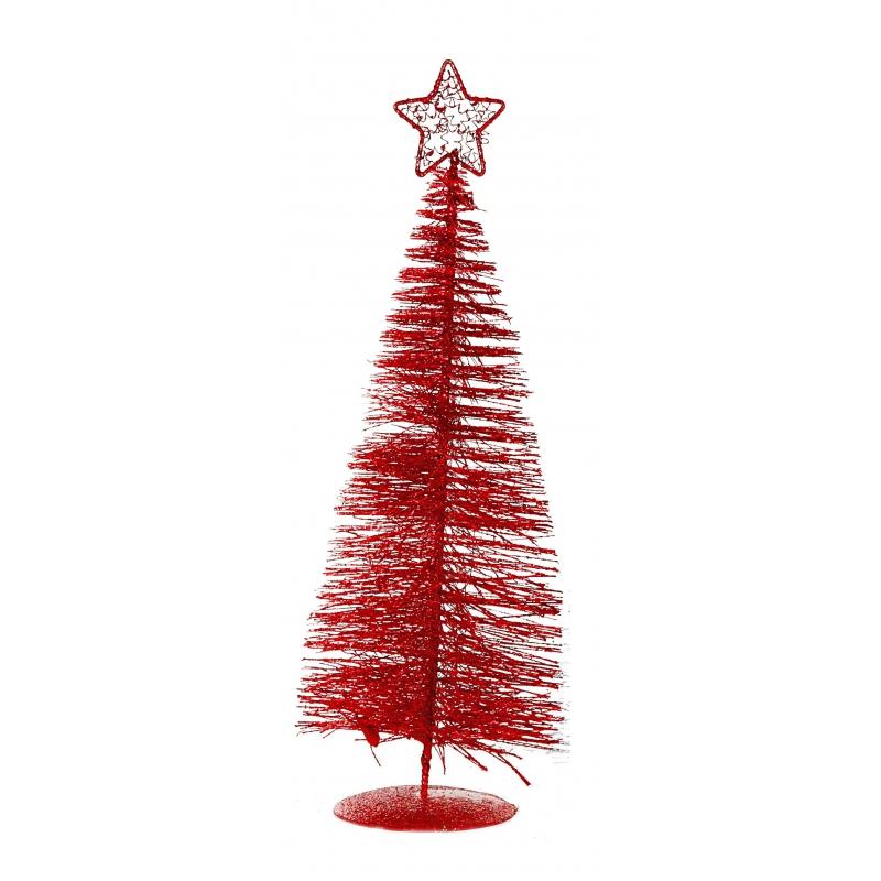 Kleine rode kunst kerstboom 21 cm