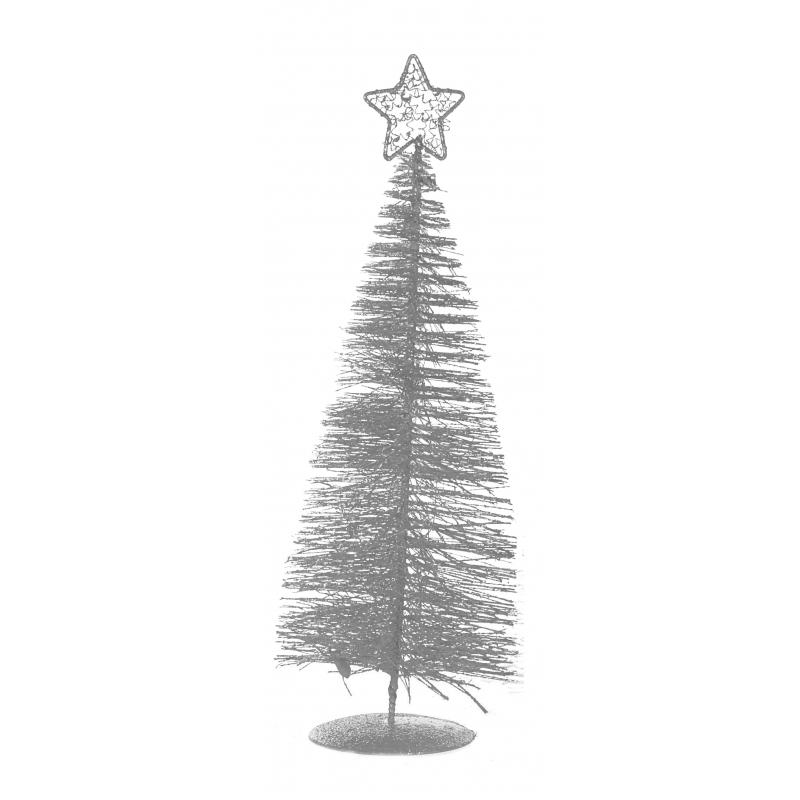 Kleine zilveren kunst kerstboom 21 cm