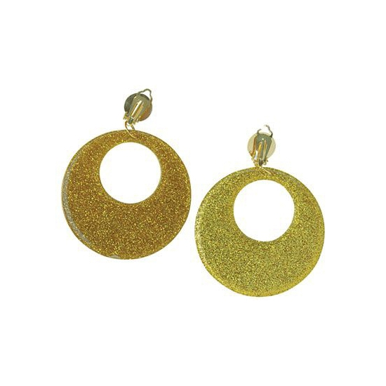 Klem oorbellen glitter goud