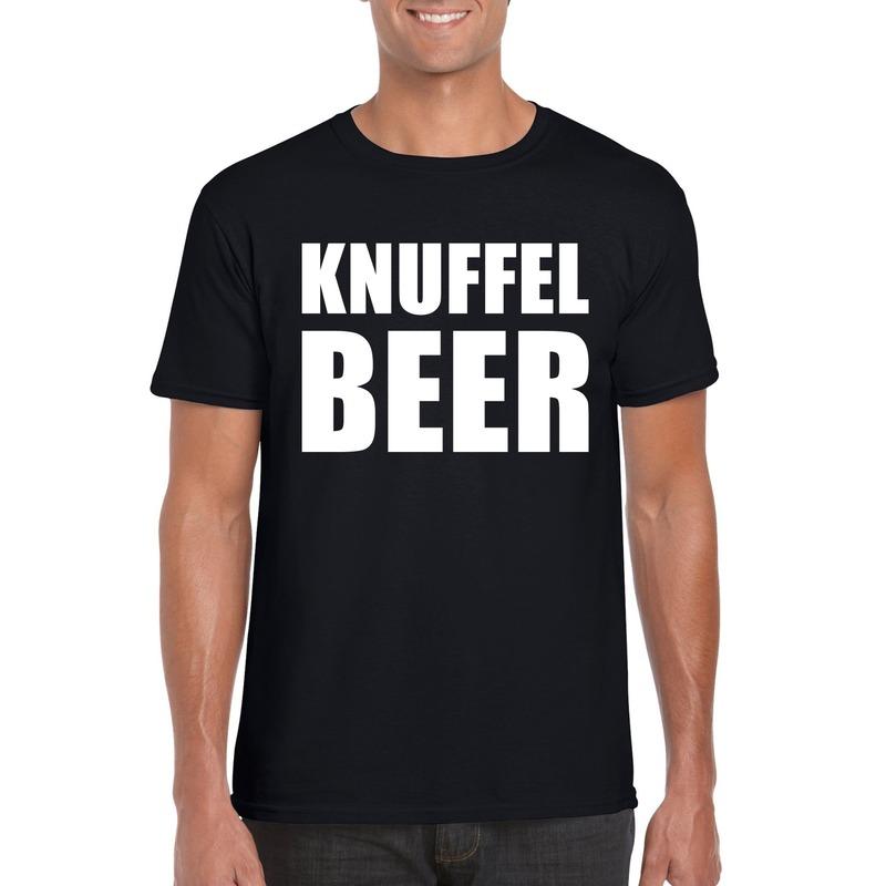 Knuffel beer tekst t-shirt zwart heren