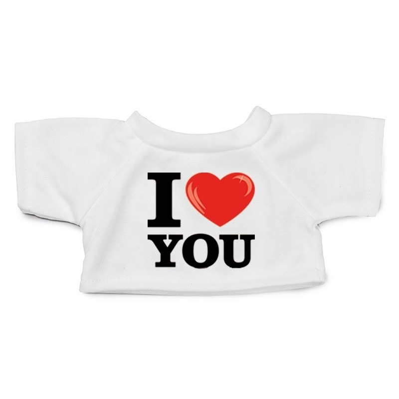 Knuffel kleding I love you t-shirt wit M voor Clothies knuffels