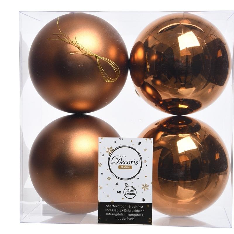 Koper bruine kerstversiering kerstballen kunststof 10 cm