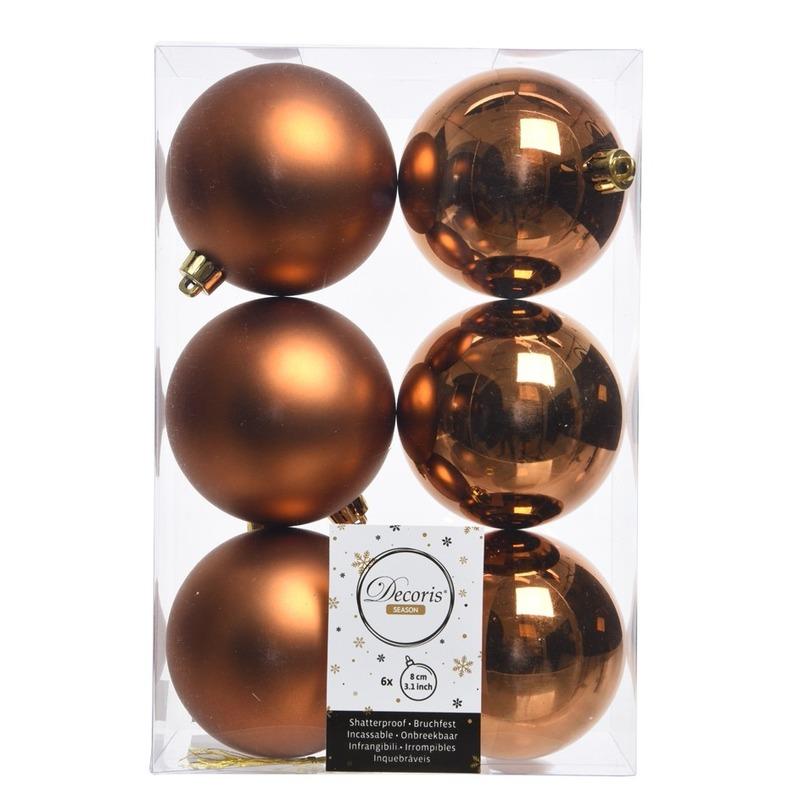 Koper bruine kerstversiering kerstballen kunststof 8 cm
