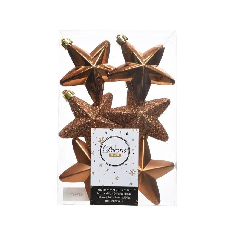Koper bruine kerstversiering sterren kerstballen 7,5 cm
