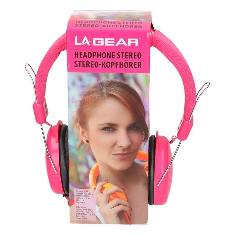 Koptelefoon stereo neon roze
