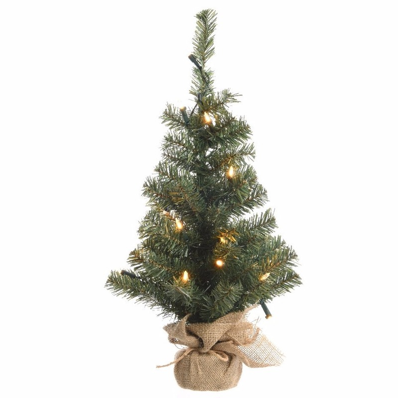 Kunst kerstboom groen met warm witte verlichting 60 cm