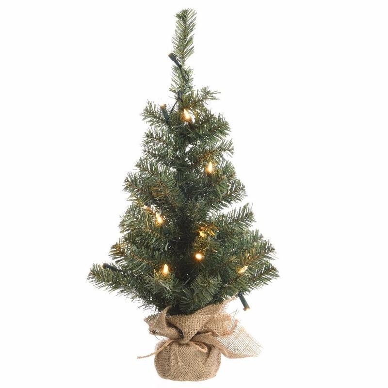 Kunst kerstboom groen met warm witte verlichting 90 cm