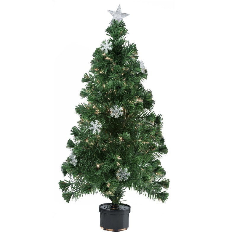 Kunst kerstboom met fiber verlichting 90 cm