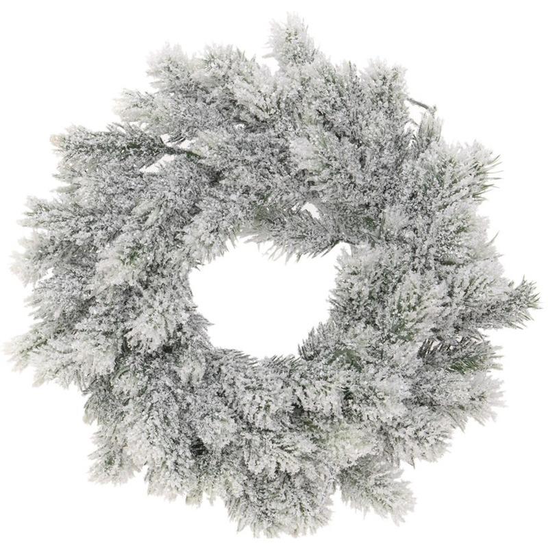 Kunst kerstkrans groen-sneeuw 35 cm
