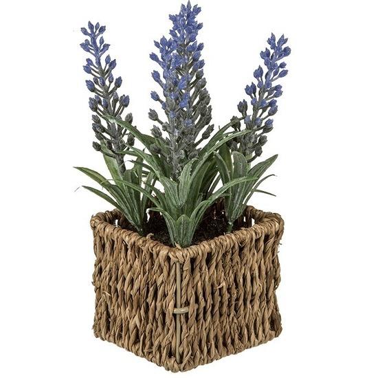 Kunstplant paarse Lavendel in rieten mandje 19 cm