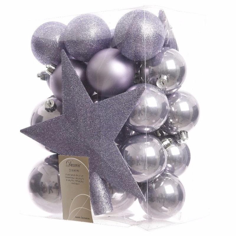 Kunststof kerstballen en piek lila 33 st