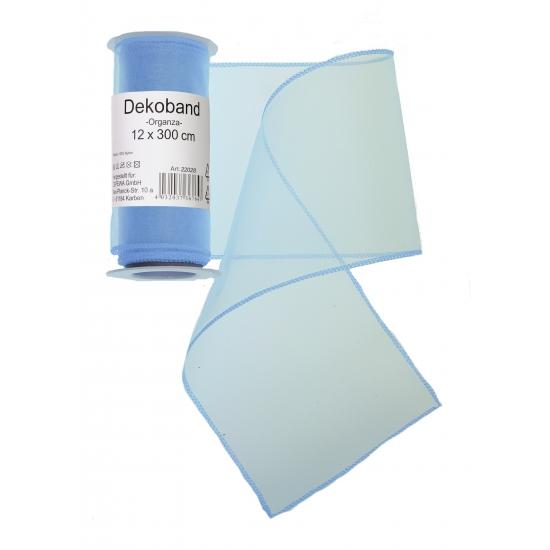Lichtblauwe organza tule decoratie stof 12 x 300 cm