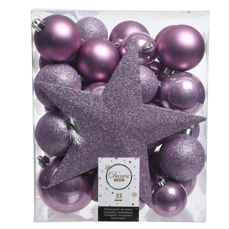 Lila paars kerstballen pakket met piek 33 stuks