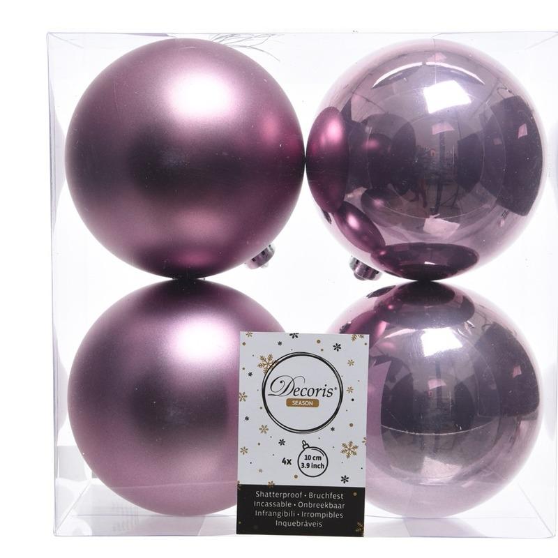 Lila paarse kerstversiering kerstballen 8x kunststof 10 cm