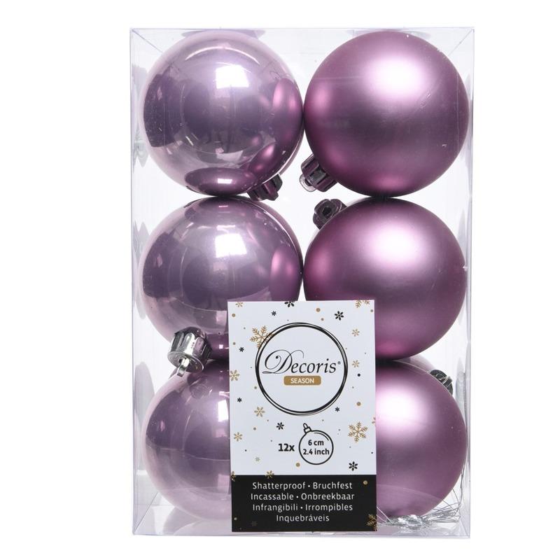 Lila paarse kerstversiering kerstballen kunststof 6 cm
