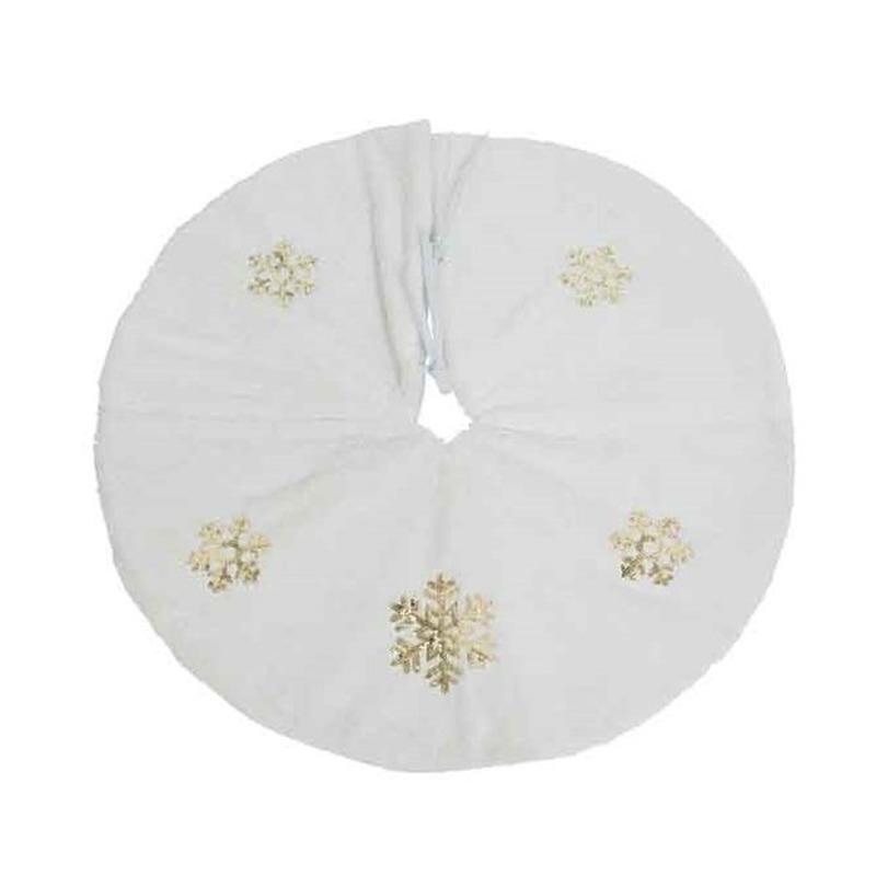 Luxe Kerstboomrok-kerstboomkleed wit gouden sneeuwvlok 88 cm