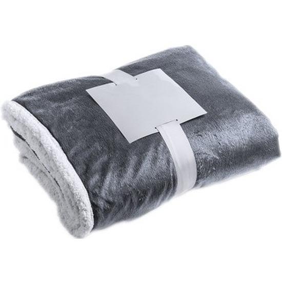 Luxe pluche deken-kleed grijs 125 x 160 cm