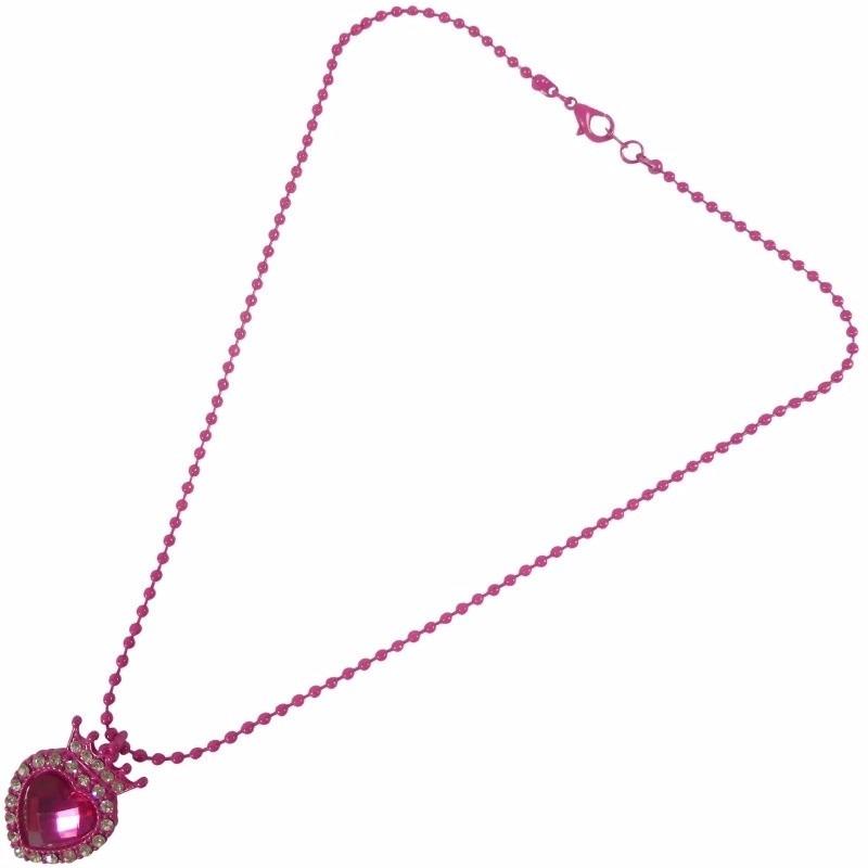Meisjes ketting met roze hart