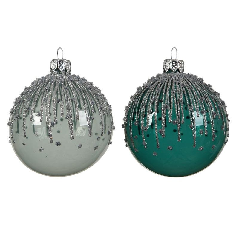 Mint-smaragd groene transparante kerstballen van glas 8 cm