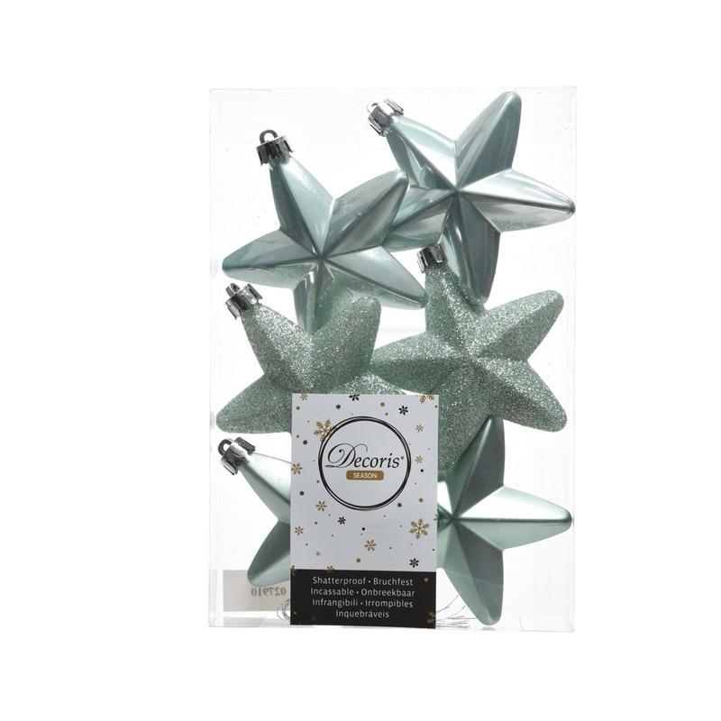 Mintgroene kerstversiering sterren kerstballen 7,5 cm