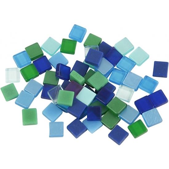 Mozaiek tegels kunsthars groen-blauw 5x5