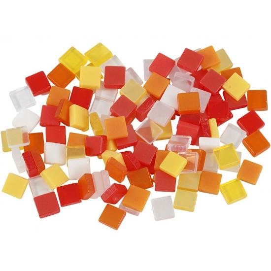 Mozaiek tegels kunsthars rood-oranje 5x5