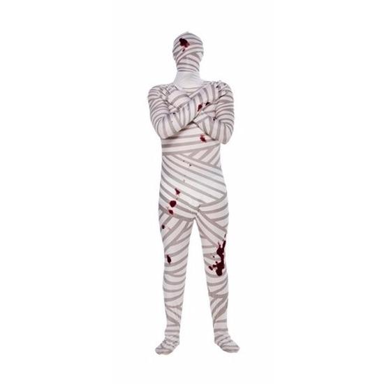 Mummie kostuum voor volwassenen. een second skin kostuum met muts en ziet eruit als gewikkeld verband met ...