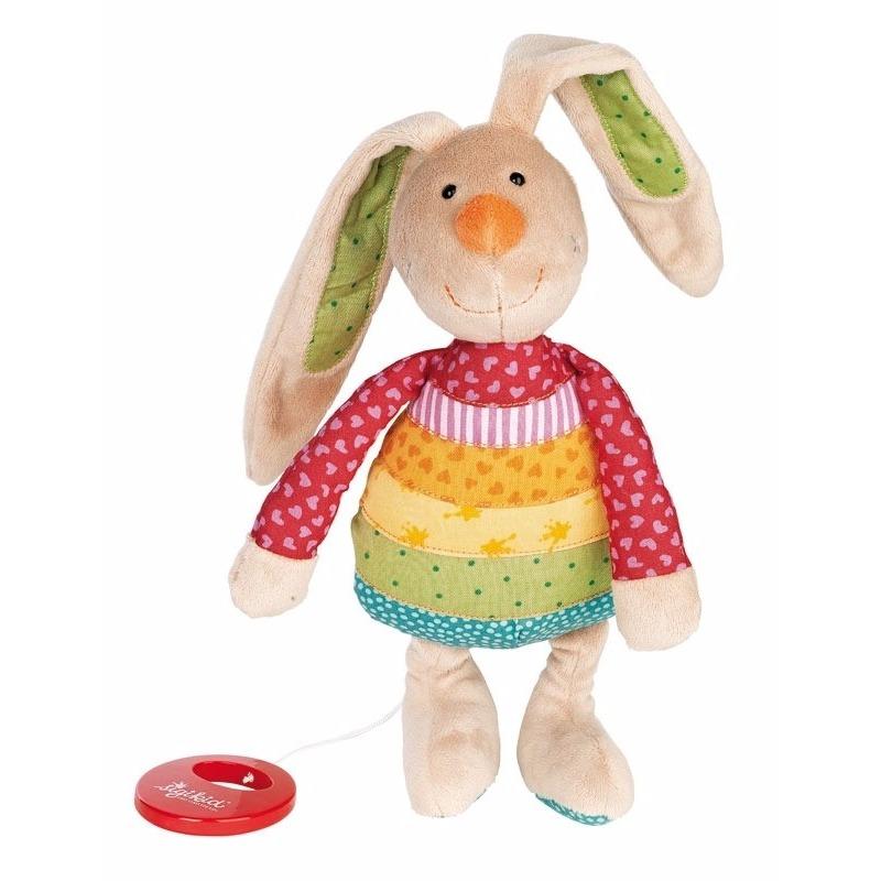 Muziek knuffel konijn 28 cm