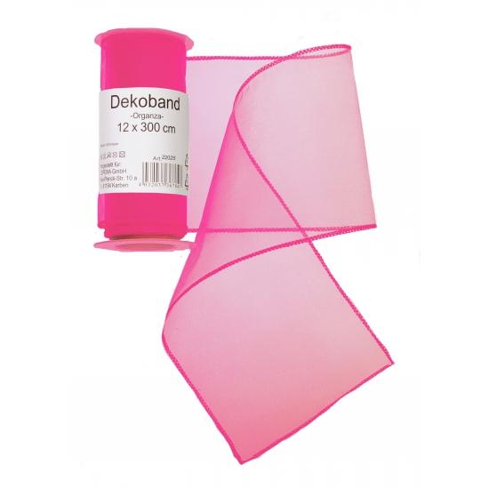 Neon roze organza tule decoratie stof 12 x 300 cm