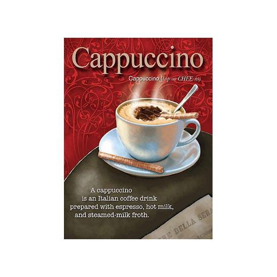 Metalen muurplaat cappuccino 15 x 20 cm. mini decoratie plaat voor aan de muur met de tekst cappuccino en een ...